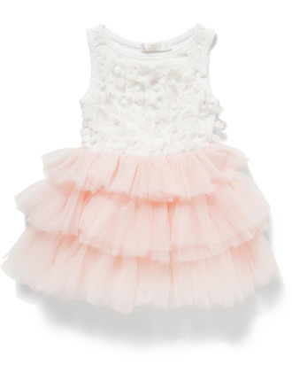 Girls 3d Flower Bodice Tier Skirt (6-36M)