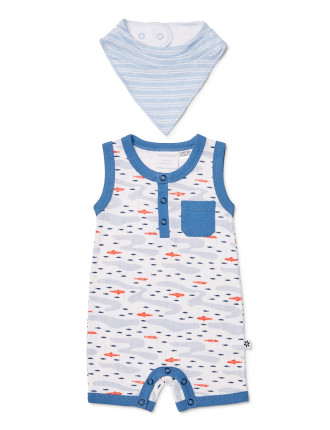 Boys Oceans Sleeveless Romper W/ Bib (0000 - 1)