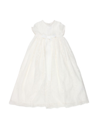 S/O S/S Christening Gown W Ft Bow (3-9M)