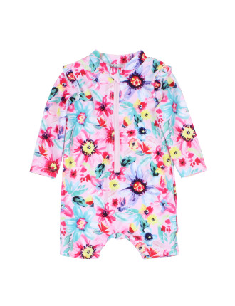LUCY LONG SLEEVE ZIP SUNSUIT W/ FRILL (6M - 24M)
