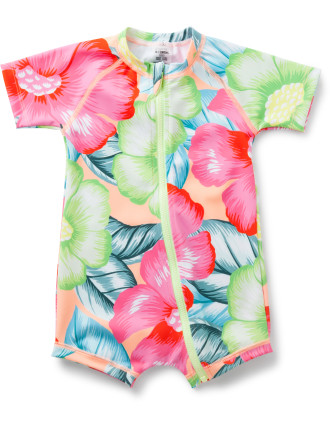 GIRLS SHORT SLEEVE ZIP SWIM SUIT (000 - 2)