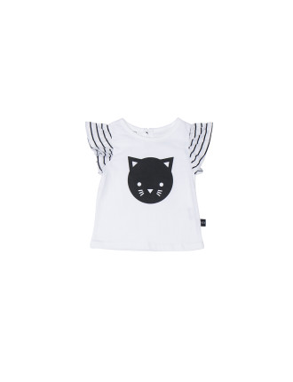 GIRLS CAT FRILL TOP (0M - 3Y)