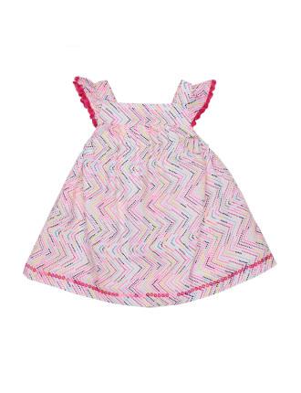 ALOHA CHEVRON DRESS W/ FRINGING (3M - 24M)