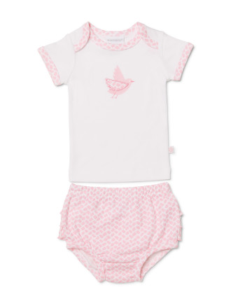 BASIC BIRD TSHIRT + BLOOMER SET (0000 - 1)