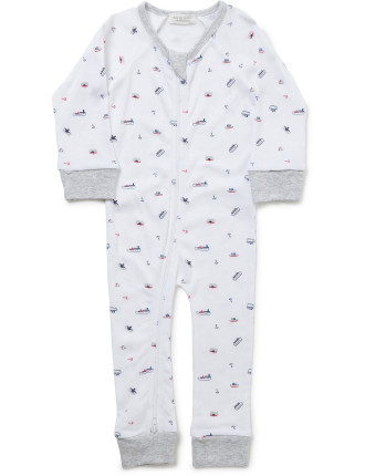Little Boat Long Sleeve Footless Romper (Newborn-9months)