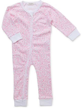 Toile Long Sleeve Footles Romper (Newborn-9months)