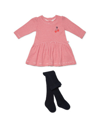 Cherry Pie Dress with Tights (Newborn-1year)