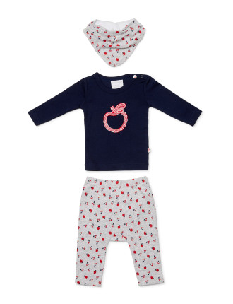 Cherry Pie Top, Leggings & Bib (Newborn-1year)