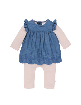 Tessa Romper with Chambray Top (3-12months)