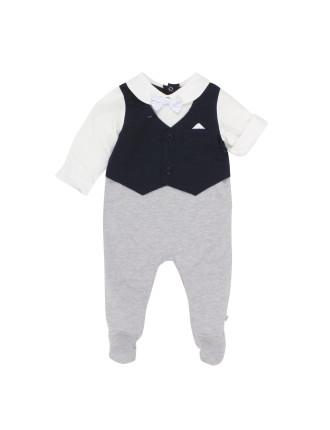 Charlie Long Sleeve Waistcoat Romper (Newborn-12months)