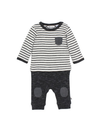 Hawk Long Sleeve Mock Layer Romper (Newborn-12months)
