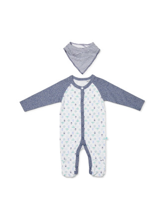 Footed Studsuit with Bib (0000-1)