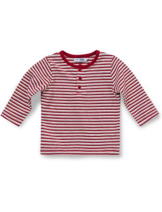 Long Sleeve Yarn Dye Stripe Henley Tee