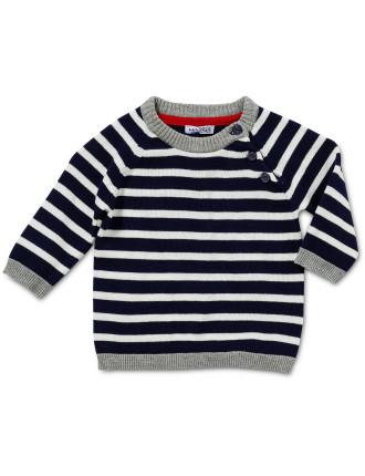 Long Sleeve Striped Jacquard Sweater