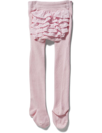 Frilled Back Knitted Cotton Tights