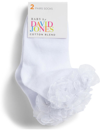 Girls 2pk Ruffle Party Crew Socks