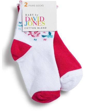 Girls 2pk Ditsy Rose Crew Socks