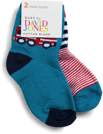 Boys 2pk Fire Engine Crew Socks