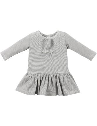 Heidi Stripe Jersey Dress W Bow