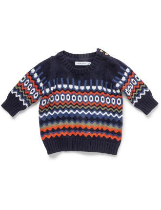 Intarsia Knit Top