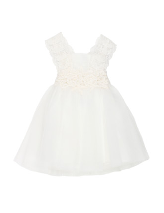 Bebe So Lace Dress With Back Bow (3-24M)