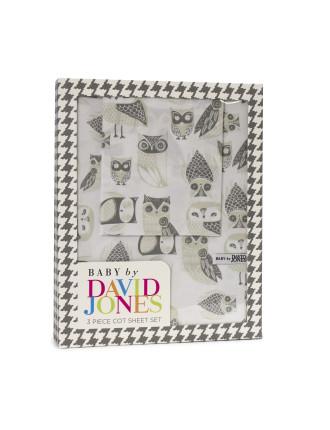 Owls 3 Piece Cot Sheet Set