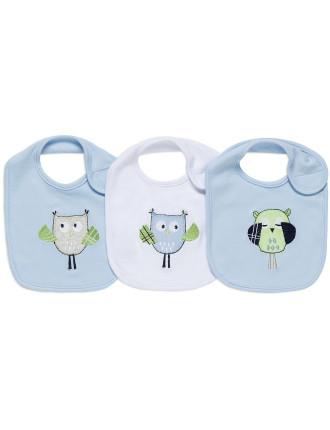 Baby Owl 3pack Bib Gift Box