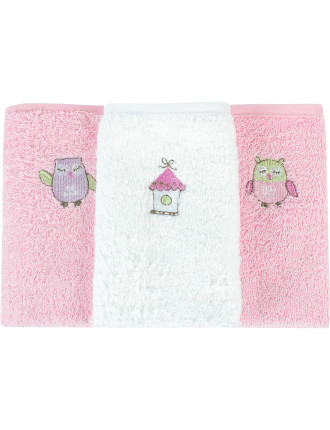 Baby Owl Pack Of 3 Face Washer