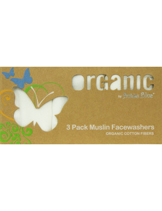 Organic Cotton Muslin Face Washer 3 Pack