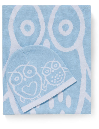Owl Cotton Knit Blanket & Beanie