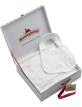 Bunnykins Christening Bib And Wrap Set In Gift Box