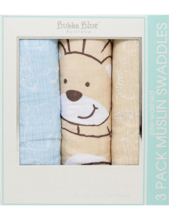 Little Safari 3 Pack 2ply Pre Washed Muslin Wrap