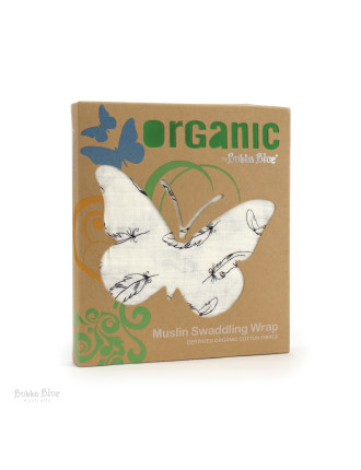 Bubba Blue Feathers Organic Cotton Muslin Single Pack