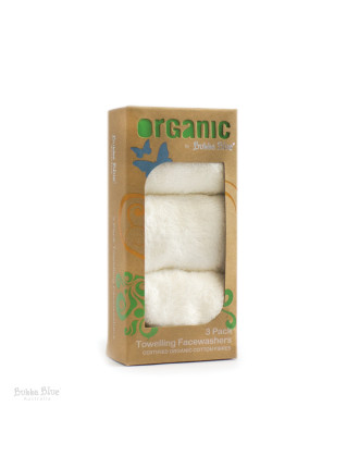 Bubba Blue Feathers Organic Cotton 3 Pack Face Washer Set