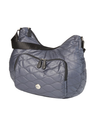 Indigo Cotton Quilt Pocket Slouch Hobo