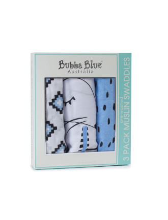 Bubba Blue Mr Fox 3pk Muslin Wraps