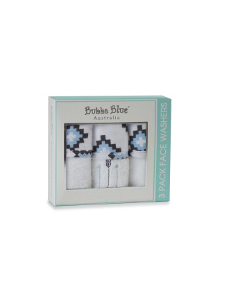 Bubba Blue Mr Fox Pack Of 3 Velour Face Washer