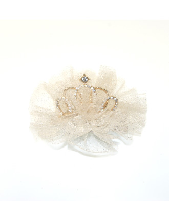 Tiara Diamante & Tulle Clip