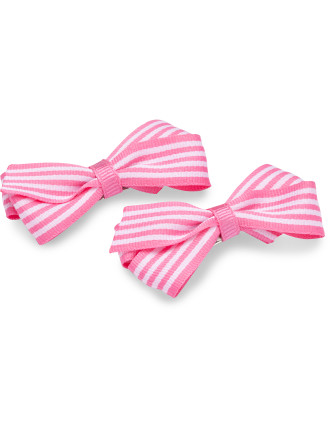 Stripe Ribbon Bow Snap Clips