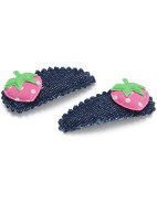Denim Strawberry Snap Clips $6.95