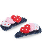 Denim Hearts Snap Clips $6.95