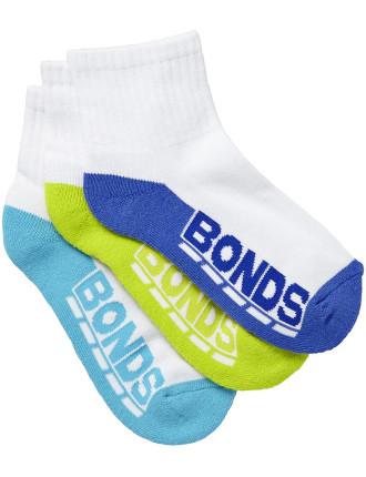 Bonds Logo Quarter Crew Socks 3pk