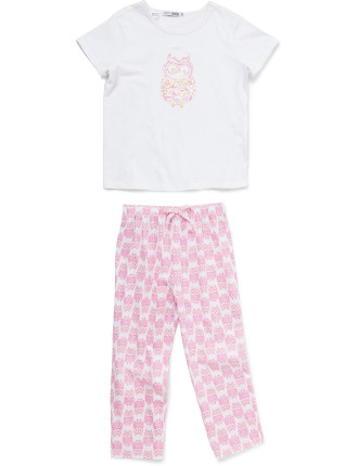 Girls 8-14 Short Sleeve Long Leg Pjs Set - Owl Print