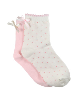 Girls 2pk Satin Bow Party Socks