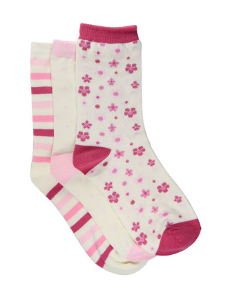Girls 3pk Crew Cut Fashion Socks - Floral, Spot, Stripe