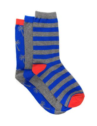 Boys 3pk Fashion Crew Socks - Palms