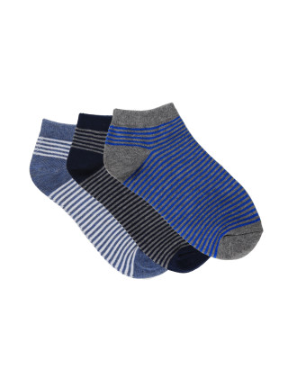 Boys 3pk Low Cut Fashion Socks - Stripes