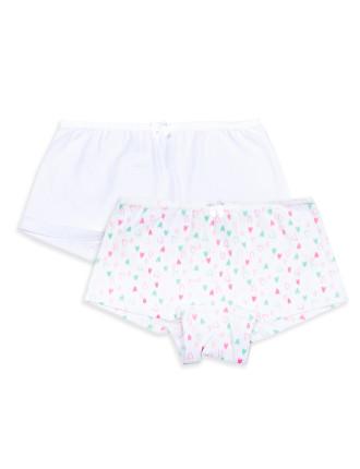 Girls 2-7 2pk Shorties - Print/Plain