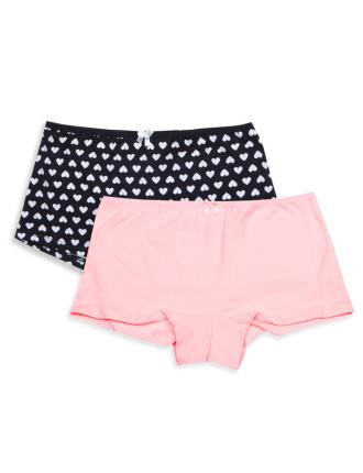 Girls 8-14 2pk Shorties - Print/Plain