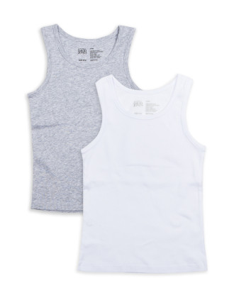 Boys 8-14 2pk Singlets - Plain